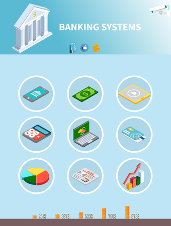 Data isometric set of infographic pictograms for banking systems with images of money gadgets and graphs vector illustration Illustration