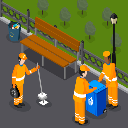 Garbage isometric composition with group of refuse collectors dressed in orange uniform with city park scenery vector illustration