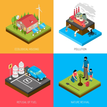Ecology isometric design concept with eco housing, industrial pollution, refusal of fuel, nature revival isolated vector illustration