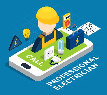 Concept de couleur isométrique de l'électricité avec smartphone et service sur demande par l'illustration vectorielle d'électricien de profession Banque d'images - 96952320