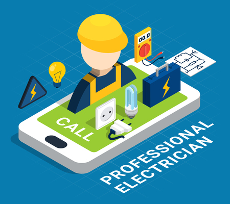 Electricity isometric colored concept with smartphone and service on request by profession electrician vector illustration Illustration