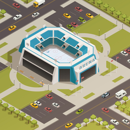 Ice hockey competitions sport arena stadium with adjacent parking lots and lawns area isometric composition vector illustration