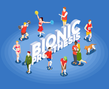 Bionic prosthetics isometric vector illustration with people involved in sports having artificial high tech legs and hands prosthesis