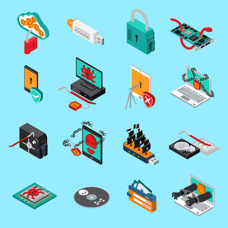 Hardware protection icons set with computer symbols  on blue background isometric isolated vector illustration