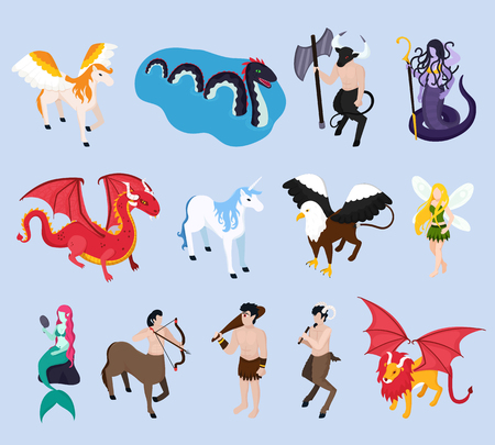 Mythical creatures isometric icons with unicorn, mermaid and fairy, pegasus and winged lion, griffin, isolated vector illustration Ilustração