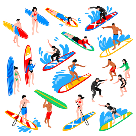 Surfing isometric icons set with coach training young people to riding on surfboard isolated vector illustration