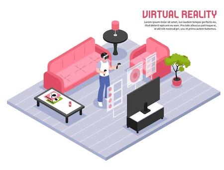Virtual reality full screen immersive experience isometric composition with person in headset standing home with two controllers vector illustration