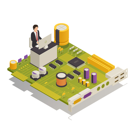 Semiconductor electronic components computer application symbolic isometric composition with desktop user mounted on circuit board vector illustration Çizim