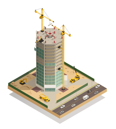 Skyscraper construction isometric composition with adjacent street tower cranes machinery and hoist for facade work vector illustration
