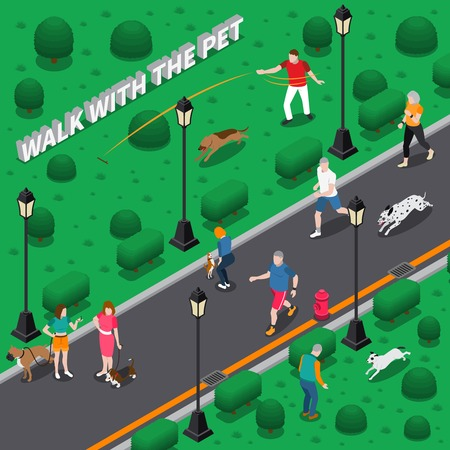 People walking and playing with their pet dogs in park isometric composition 3d vector illustration  Illustration