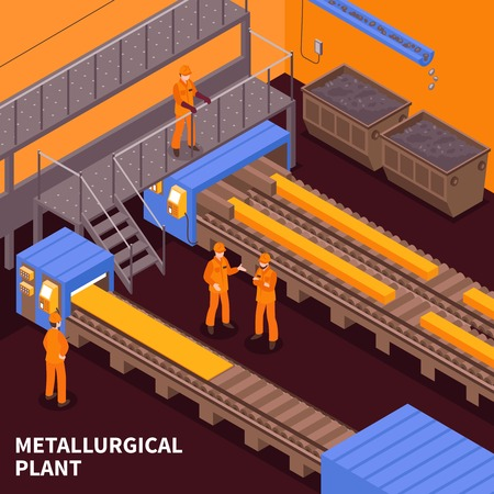 Steel and iron metallurgical industry hot rolling heavy plate production plant isometric composition with workers vector illustration