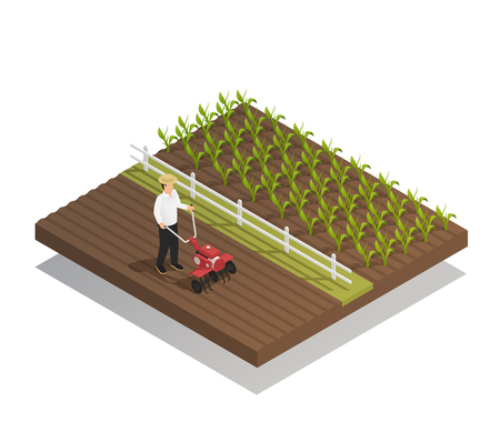 Farming machinery agricultural equipment isometric composition with hand push rotary garden cultivator harrowing and growing crops vector illustration