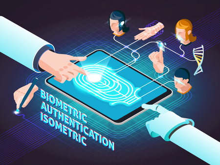 Biometric authentication methods isometric composition poster with fingerprint scanning signature hand geometry and facial identification vector illustration