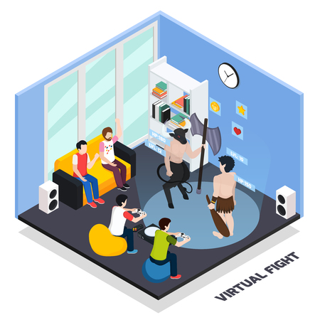 Virtual fight isometric composition with gaming characters, gamers with control panels, spectators in home interior vector illustration Illustration