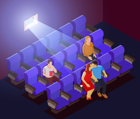 Romantic dating background with young couple kissing in dark cinema during screening of film isometric vector illustration
