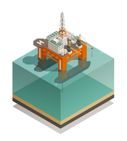 Oil production industry isometric composition with offshore platform facilities for well drilling extraction and processing vector illustration Illustration