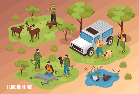 Hunting scene isometric composition with killed game animals jeep dogs and shooter aiming at deer vector illustration Illustration