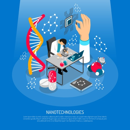 Nano technologies isometric composition vector illustration