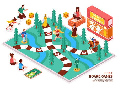 Board game isometric composition with people including kids and adults, desktop field, figures, cards, dice vector illustration Ilustração