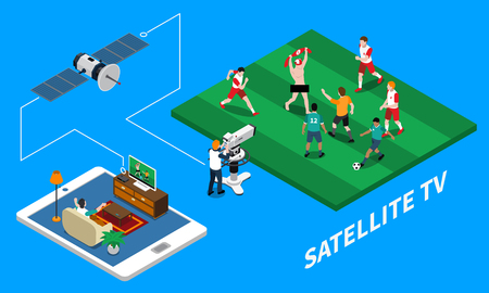 Telecommunication satellite tv isometric composition with live streaming of football match on blue background 3d vector illustration Illustration