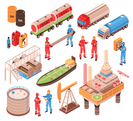 Oil gas industry isometric icons set with offshore drilling platform rail tank car truck vessel isolated vector illustration