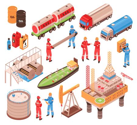石油ガス産業のアイソメトリック アイコン セット で、沖合いの掘削プラットフォームの鉄道タンク車のトラックの容器分離ベクトルのイラスト