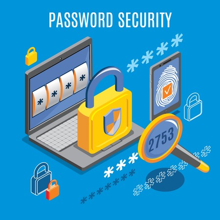 Password security design with unlocked notification on laptop screen and fingerprint button on smartphone isometric vector illustration  イラスト・ベクター素材