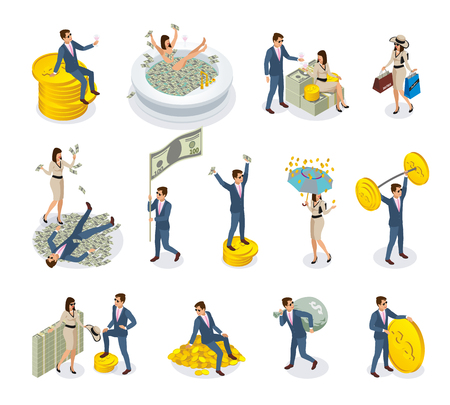 Set of isometric icons rich people with big money, during golden rain, expensive shopping isolated vector illustration