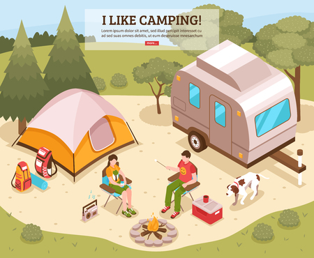 Family summer camping site isometric design