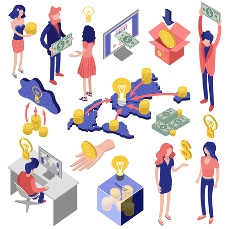 Crowd funding isometric icons set
