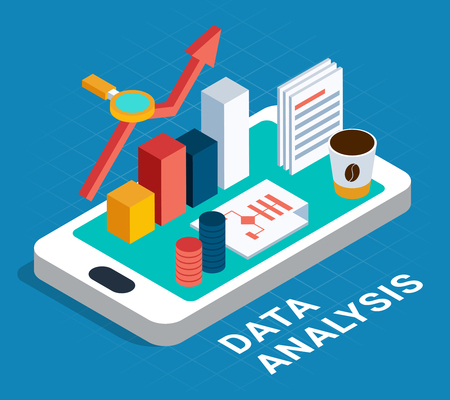 Data analysis abstract poster with algorithm magnifier cup of coffee isometric icons placed on smartphone screen vector illustration