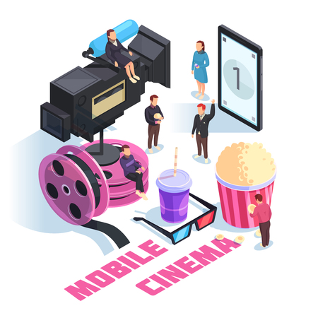 Mobile cinema isometric concept on white background with staff, smart phone, camcorder, film reel, snacks vector illustration