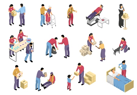 Charity isometric set with volunteers involved in social support and medical care to diseased elderly and homeless people isolated vector illustration