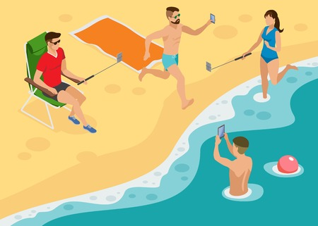 Isometric composition with young people on the beach making selfie Illustration
