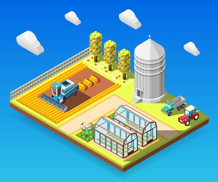 Agricultural isometric design concept vector illustration