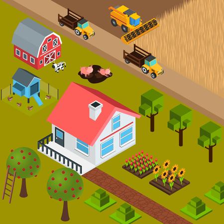 Colorido fondo isométrico con granja casa animales domésticos árboles maquinaria 3d ilustración vectorial Foto de archivo - 96991983