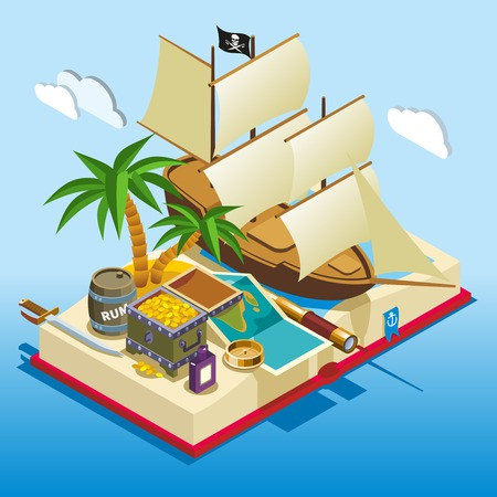 Pirate elements on open book isometric game composition on blue gradient background vector illustration. Ilustrace