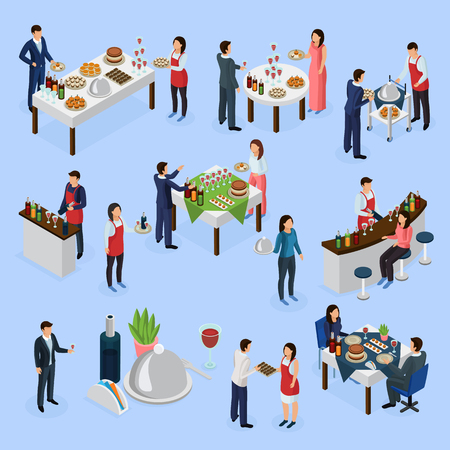 Catering service isometric elements collection with different occasions.