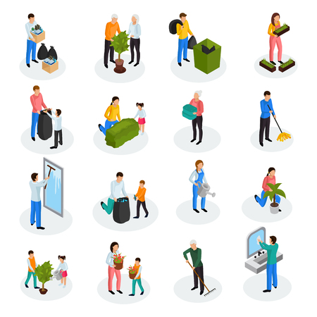 Spring cleaning works isometric icons collection with floor mopping seedling planting garbage collection window washing isolated vector illustration  Çizim