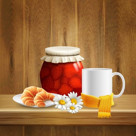 Daisy flower realistic composition with jar of jam mug of tea and with scattering of flowers vector illustration