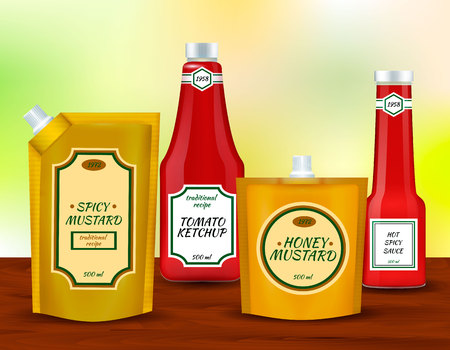 Spicy tomato and mustard sauces plastic packing pouch with spout and bottles collection