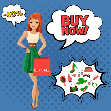 Big sale of female accessories, composition on blue background with comic bubbles, beautiful woman vector illustration