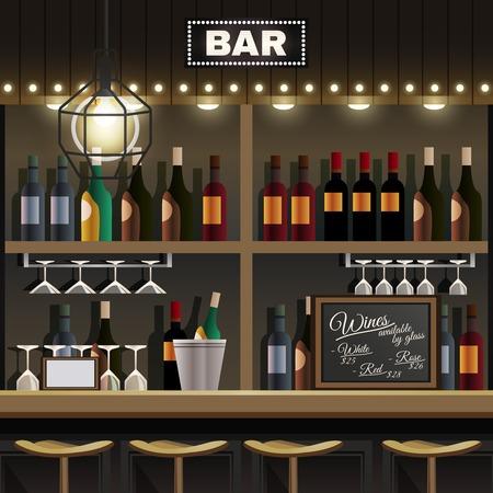 Cafe restaurant pub bar realistic interior detail with wine liquor bottles display shelves and counter stools vector illustration Illustration