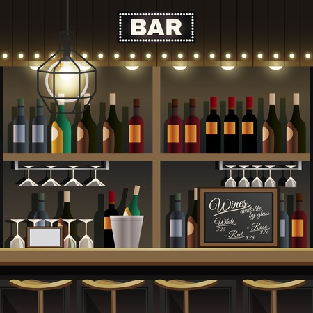 Cafe restaurant pub bar realistic interior detail with wine liquor bottles display shelves and counter stools vector illustration Stock Illustratie