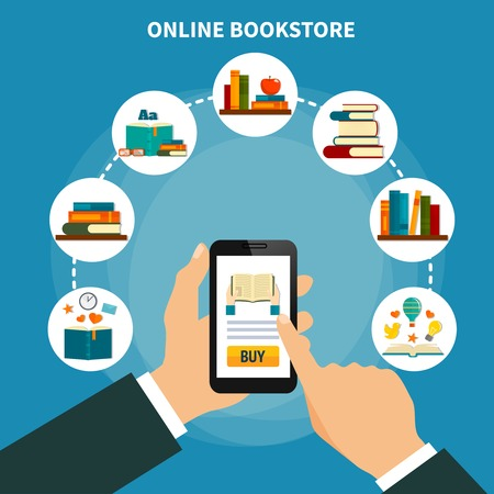 Internet book store composition on blue background with smartphone in hand buying literature online