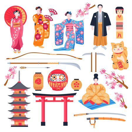 Ancient japan culture flat icons set with gate pagoda temple maneki neko talisman geisha isolated vector illustration