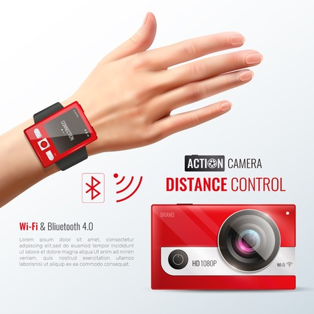 Action camera poster with distance control symbols realistic vector illustration