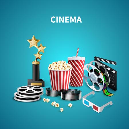Blue cinema background with trophy, clapboard, popcorn, 3d glasses, film strip and reels Ilustrace