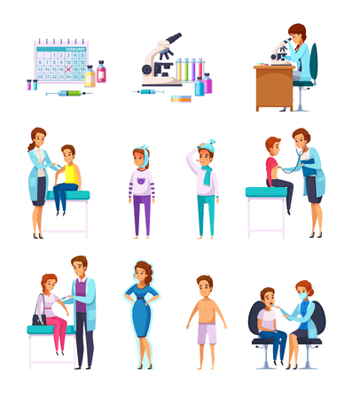Vaccination immunity cartoon set of flat isolated human characters with patient kids and adult doctors  microscope vector illustration