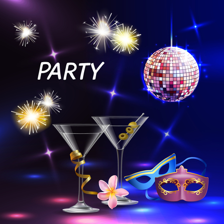 Celebration party realistic accessories lights cocktail glasses eye masks for festive night event promotion wedding vector illustration